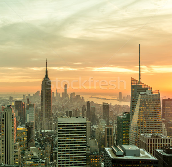 Ansicht New York manhattan Sonnenuntergang Business Himmel Stock foto © Elnur