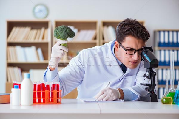Bilim adamı çalışma organik meyve sebze doktor Stok fotoğraf © Elnur