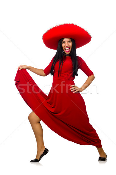 Woman wearing sombrero dancing on the white Stock photo © Elnur