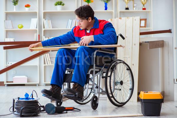 инвалидов плотник измерение семинар строительство Сток-фото © Elnur