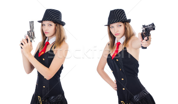 Woman gangster isolated on white Stock photo © Elnur