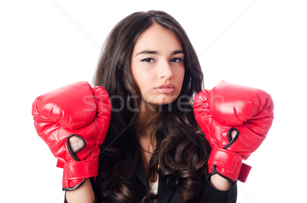 Young woman with boxing glove Stock photo © Elnur