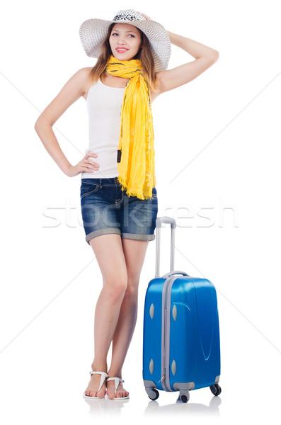 Nő nyári vakáció izolált fehér lány boldog Stock fotó © Elnur