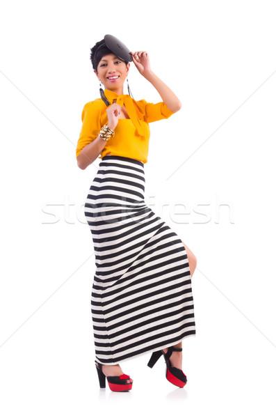 Model modieus kleding witte meisje Stockfoto © Elnur