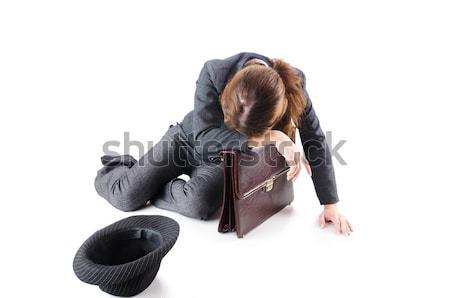 Businesswoman begging some money on white Stock photo © Elnur