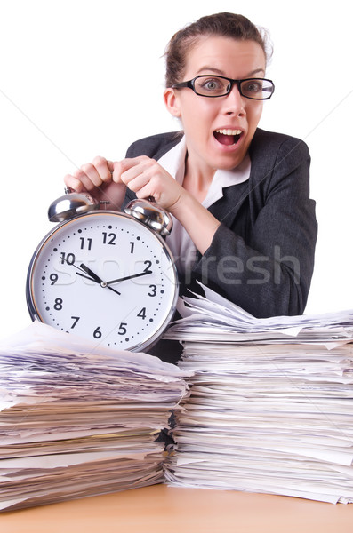 Foto stock: Mulher · empresária · gigante · despertador · relógio · trabalhar