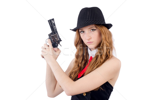 Mujer gangster aislado blanco sexy modelo Foto stock © Elnur