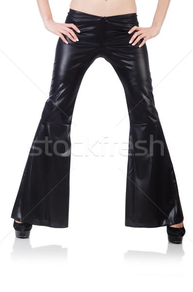Fekete bőr nadrág modell háttér női Stock fotó © Elnur