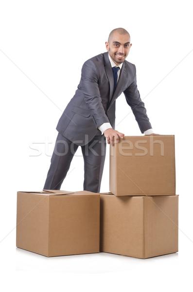 Işadamı kutu yalıtılmış beyaz adam çalışmak Stok fotoğraf © Elnur