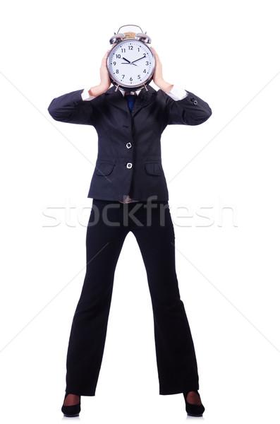 Nő óriás óra fehér iroda munka Stock fotó © Elnur