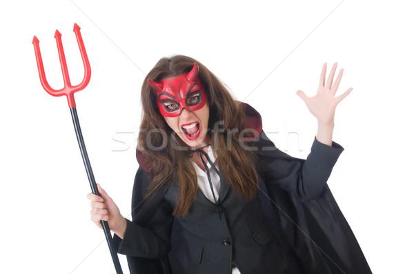 Kobiet diabeł kostium uśmiech sexy Zdjęcia stock © Elnur