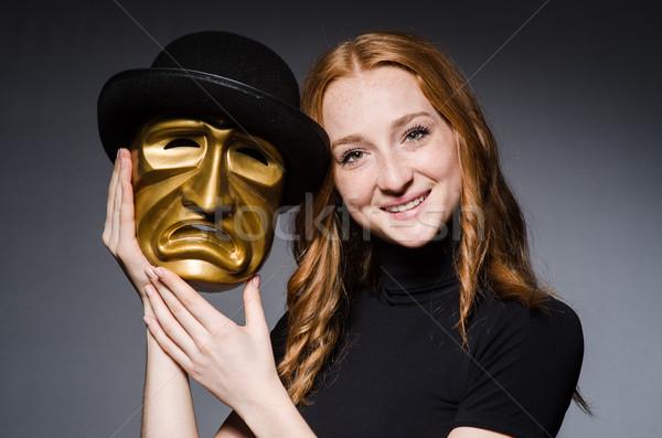 Vrouw masker grijs pak portret Stockfoto © Elnur