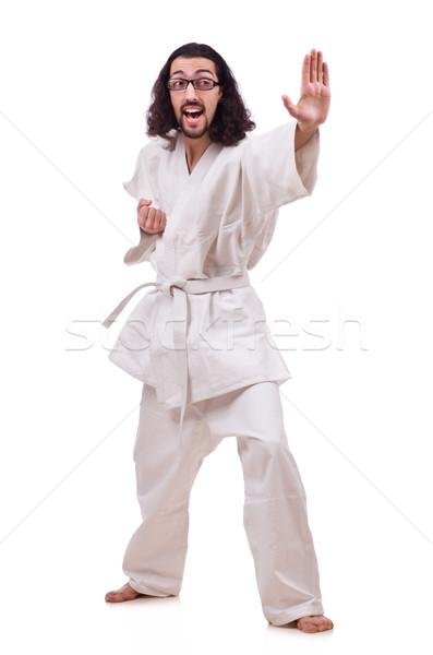 Divertente karate combattente isolato bianco sport Foto d'archivio © Elnur