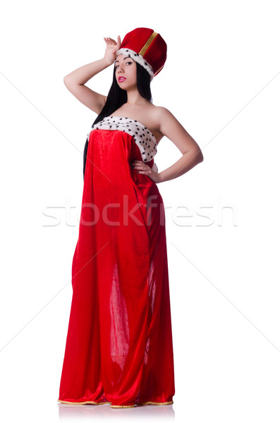 Queen in red dress isolated on the white background Stock photo © Elnur