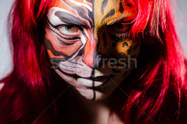 Nő tigris arc halloween divat macska Stock fotó © Elnur