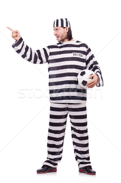 Gevangenis bewoner geïsoleerd witte voetbal voetbal Stockfoto © Elnur