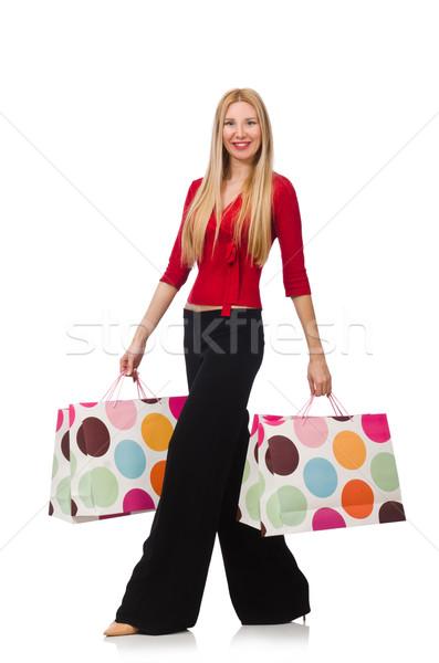 Fiatal nő nadrág izolált fehér boldog divat Stock fotó © Elnur