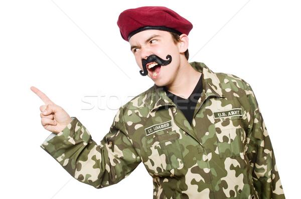 Funny żołnierz wojskowych człowiek tle wojny Zdjęcia stock © Elnur