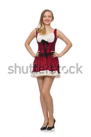 Donna indossare vestito rosso moda isolato bianco Foto d'archivio © Elnur