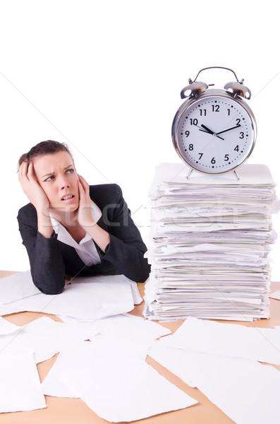 Woman businesswoman under stress missing her deadlines Stock photo © Elnur