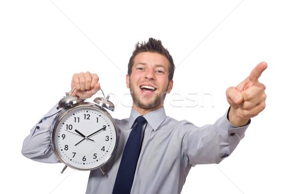Adam saat karşılamak son teslim tarihi yalıtılmış beyaz adam Stok fotoğraf © Elnur