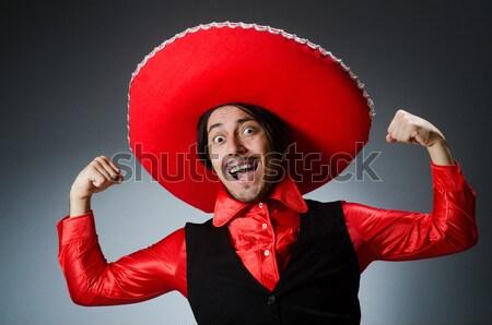 Nő visel szombréró kalap vicces sport Stock fotó © Elnur