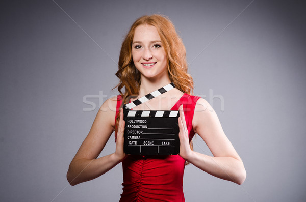 Vrouw rode jurk film boord kunst Rood Stockfoto © Elnur