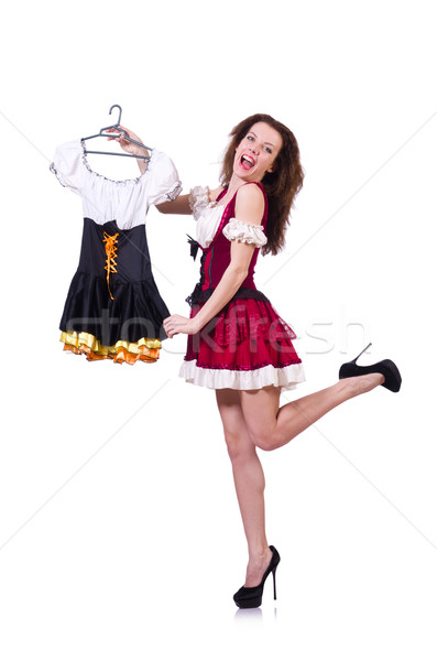 Pretty girl with bavarian clothing isolated on white Stock photo © Elnur