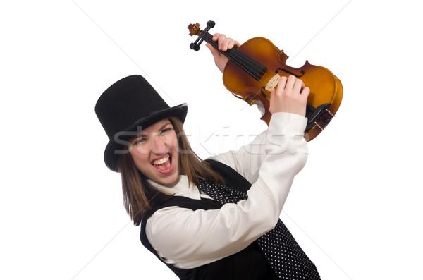 Stock fotó: Nő · hegedű · játékos · izolált · fehér · koncert