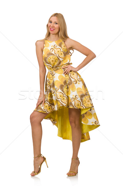 Young woman in long floral dress isolated on white Stock photo © Elnur
