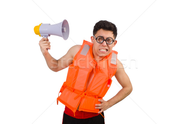 Engraçado homem colete alto-falante escritório Foto stock © Elnur