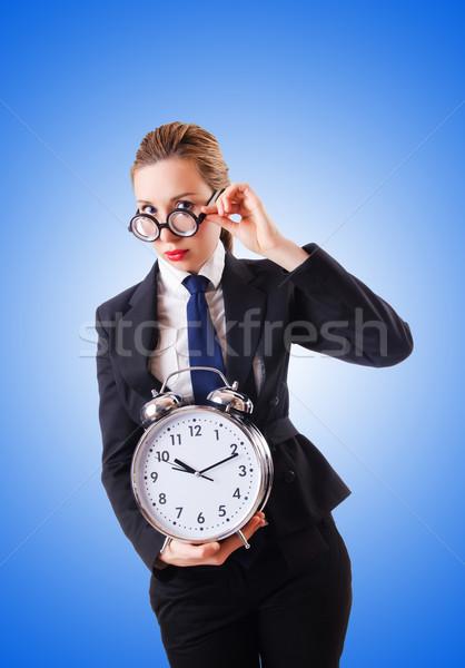 Nerd empresária gigante despertador mulher trabalhar Foto stock © Elnur