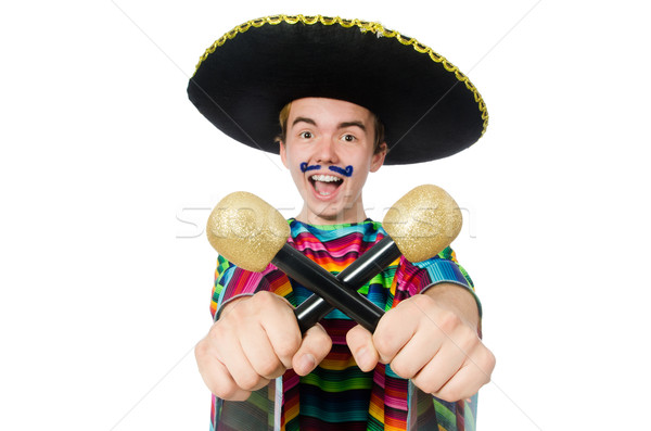 Funny young mexican shaking maracas isolated on white Stock photo © Elnur
