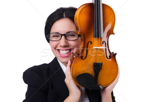 Woman with violin isolated on the white Stock photo © Elnur