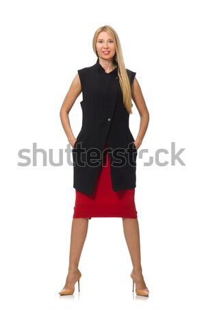 Pretty young girl in bordo skirt isolated on white Stock photo © Elnur