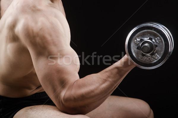 Stock fotó: Izmos · testépítő · súlyzók · sport · fitnessz · egészség