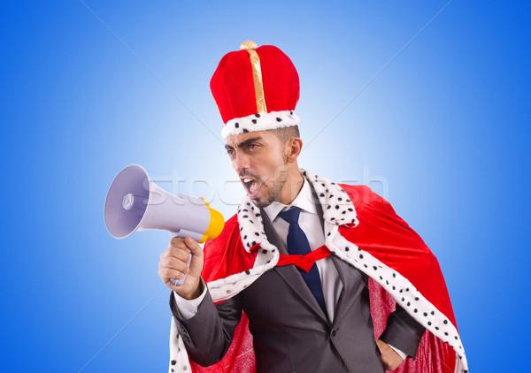 Koning zakenman luidspreker geïsoleerd witte business Stockfoto © Elnur