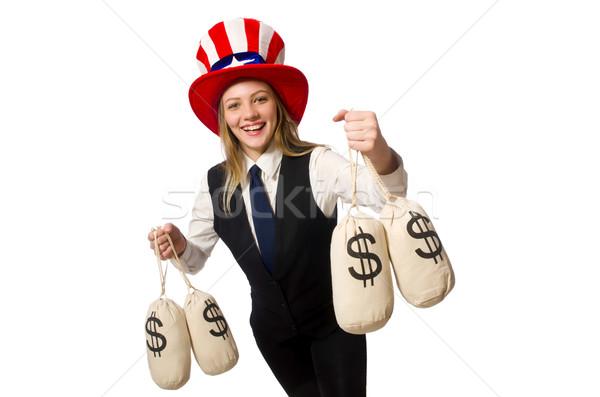 женщину деньги изолированный белый счастливым работу Сток-фото © Elnur