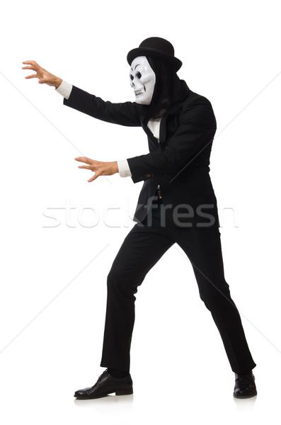 Mann scary Maske isoliert weißen Mannes weiß Stock foto © Elnur