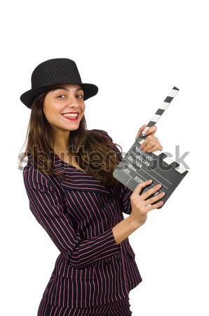 Gangster vrouw pistool geïsoleerd witte mode Stockfoto © Elnur