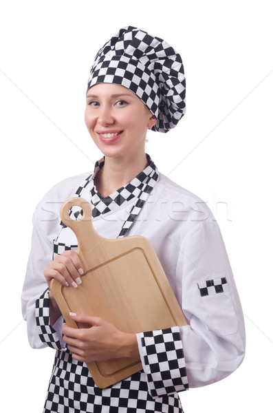 Female chef holding chopping board isolated on white Stock photo © Elnur