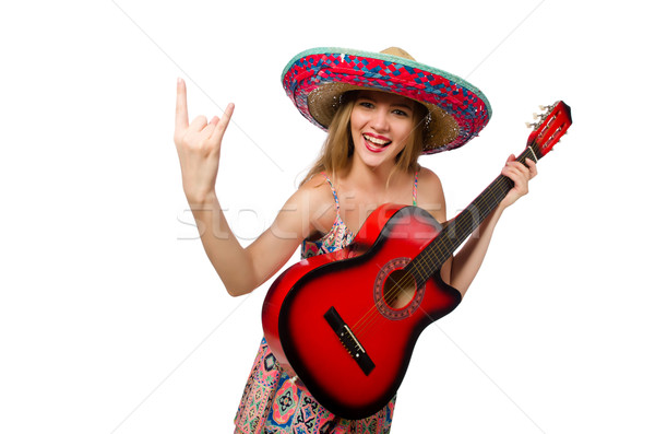 Stock photo: Woman in musical concept with guitar on white