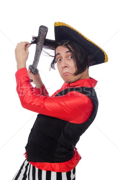 ストックフォト: 面白い · 海賊 · 孤立した · 白 · 剣 · 帽子