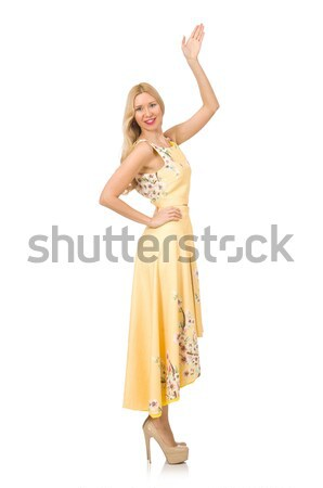 Blond girl in charming dress with flower prints isolated on white Stock photo © Elnur