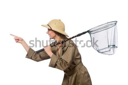 женщину Safari Hat белый человека Сток-фото © Elnur