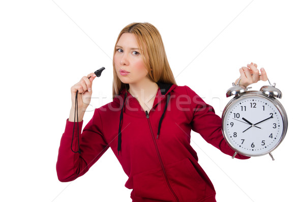 Pretty coach holding alarm clock isolated on white Stock photo © Elnur