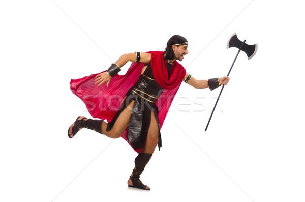 Gladiator holding ax isolated on white Stock photo © Elnur
