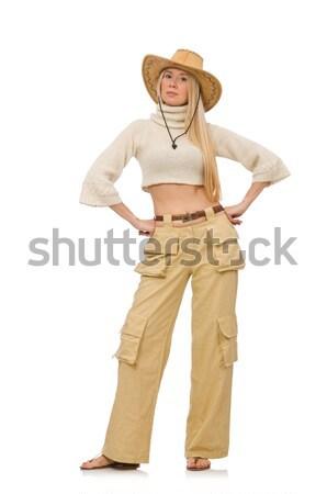 Csinos nő bézs nadrág izolált fehér lány Stock fotó © Elnur