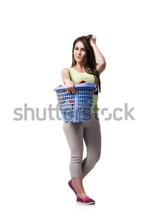 Woman feeling sressed after doing dirty laundry Stock photo © Elnur