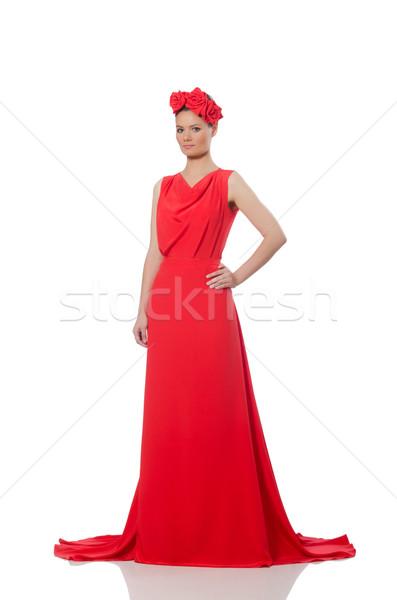 Bastante caucasiano modelo vermelho longo vestido de noite Foto stock © Elnur